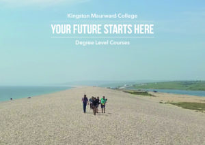 Group of students walking on Chesil Beach carrying equipment relating to Marine Ecology and Conservation with the text Kingston Maurward College, Your Future Starts Here and Degree Level Courses in three lines in the top centre of the image