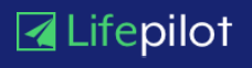 Dark blue rectangle Lifepilot Logo with a green icon of a folded paper plane to the left of the text.