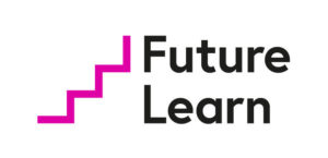 Future Learn logo in black text with a stair icon to the left of the text in a purple, bold line.