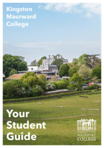 Student Guide Cover with sunny campus image overlooking Leanring Resources Centre. Your Student Guide in bottom left corner, and KM logo in bottom right corner.
