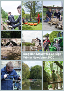 Grid of 9 photos of students on the Kingston Maurward estate doing various activities including Military, Equine, Welding, Outdoor Adventure and Agriculture students. Text in middle reads 'Kingston Maurward College, Winter Newsletter 2020'