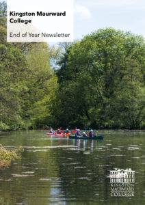 End of Year Newlsetter cover with sunny campus image of Outdoor Adventure students kayaking on the lake.