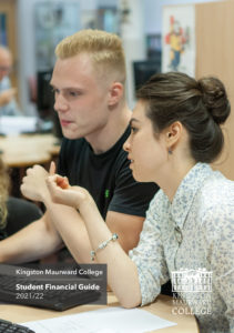 Bursary Guide Cover with two students sat looking at a computer, engaging in conversation.