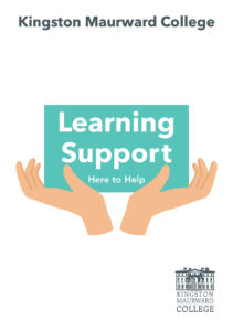 Learning Support booklet cover with two hands open, holding the text 'Learning Support' in a turquoise box.