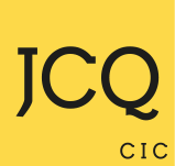 JCQ lettering logo with yellow square background.