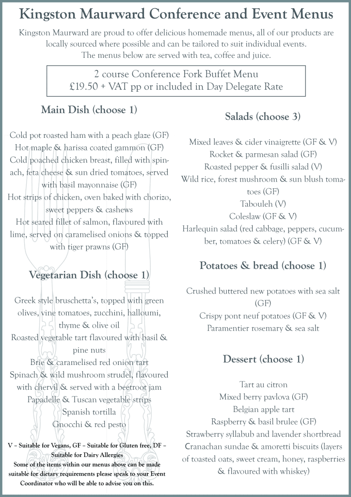 Kingston Maurward Conference and Event Menu