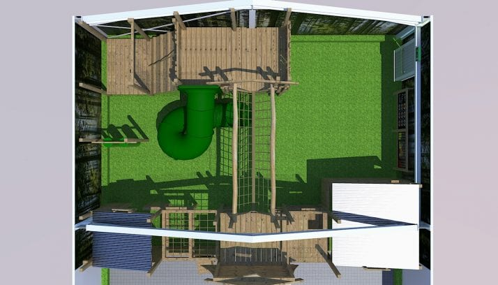 Birds eye view of the Play Barn layout including green slide and wooden play areas
