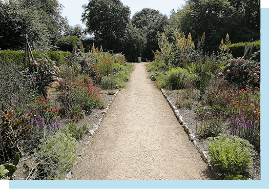 The Herbaceous Border featured as part of our Gardens. Walkway through the centre
