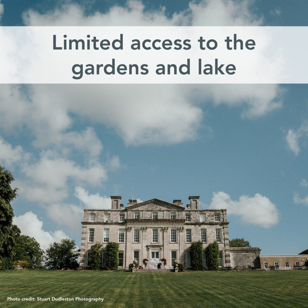 Photo of the Main House with text which says limited access to the gardens and lake