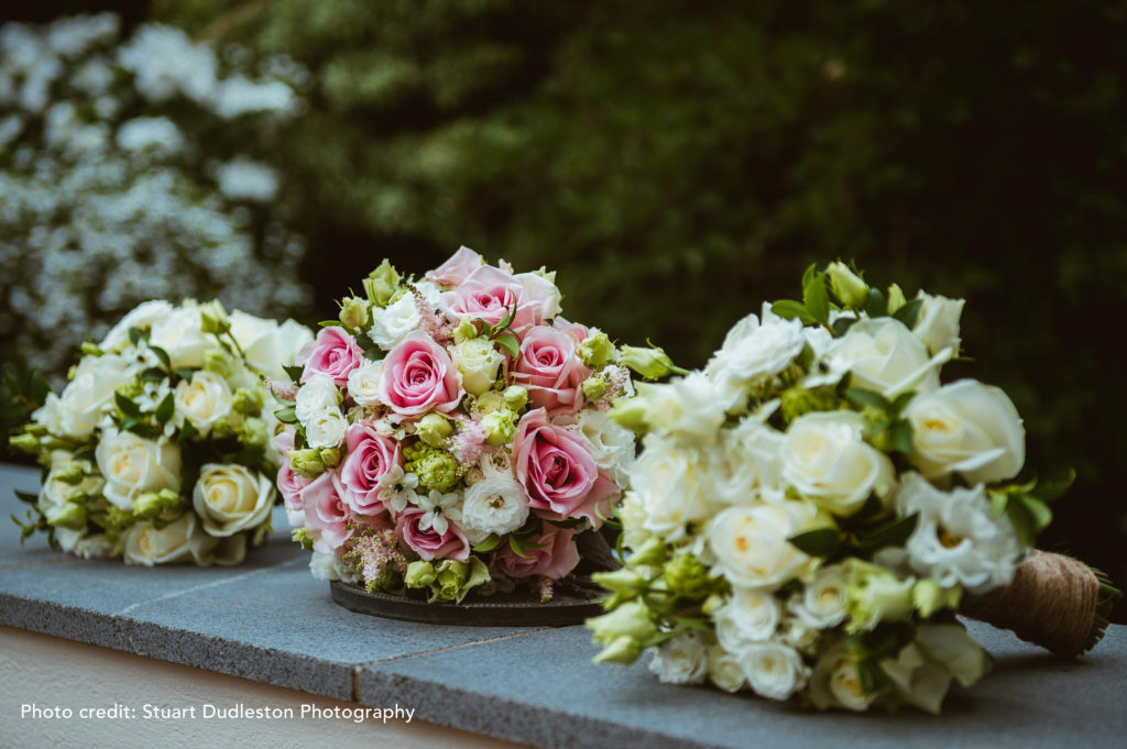 Wedding Flower bouquets photographed from the side on slate